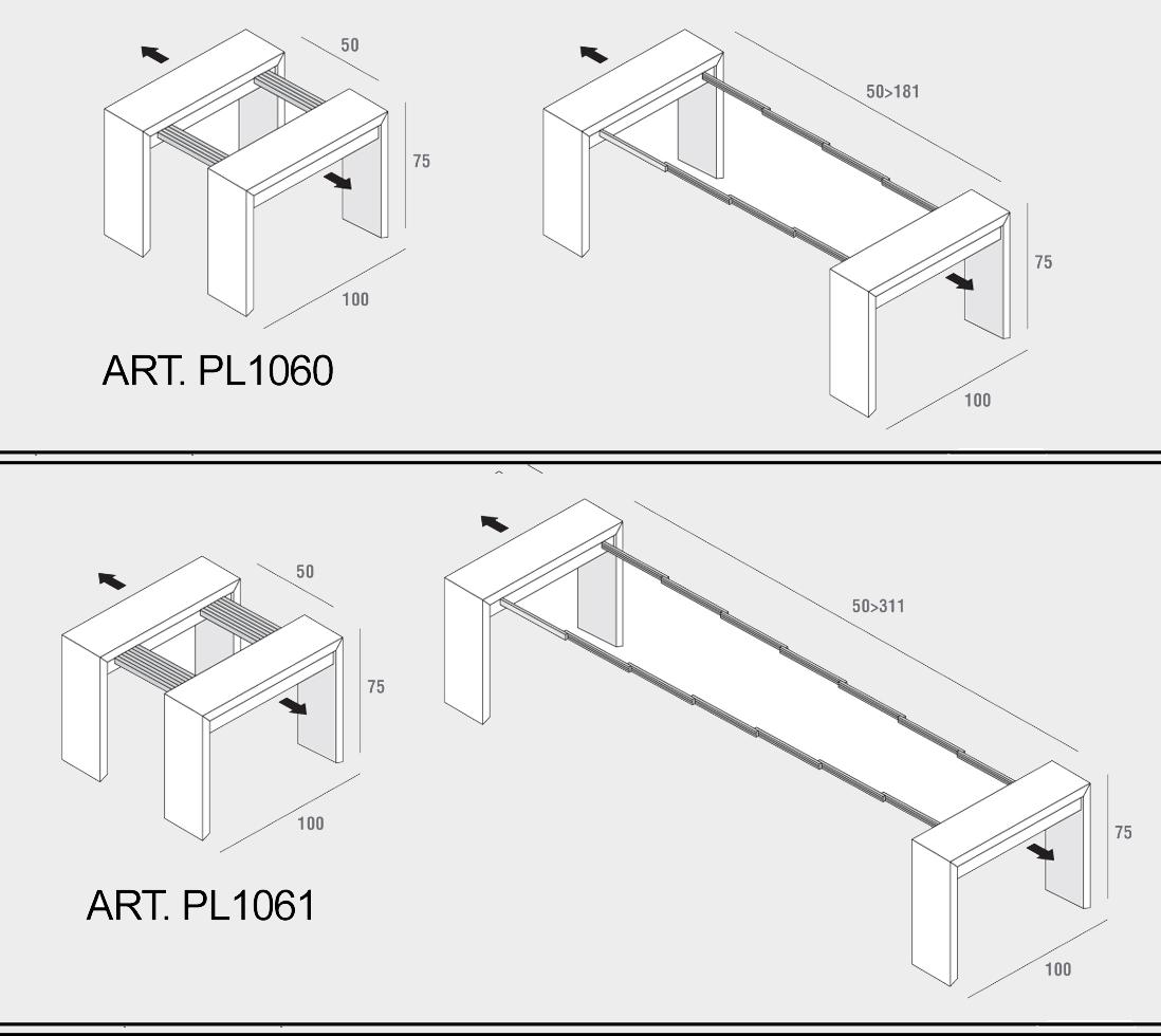 Consolle Trasformabili PL1060/PL1061 - Cucine - Mobili di qualità ...